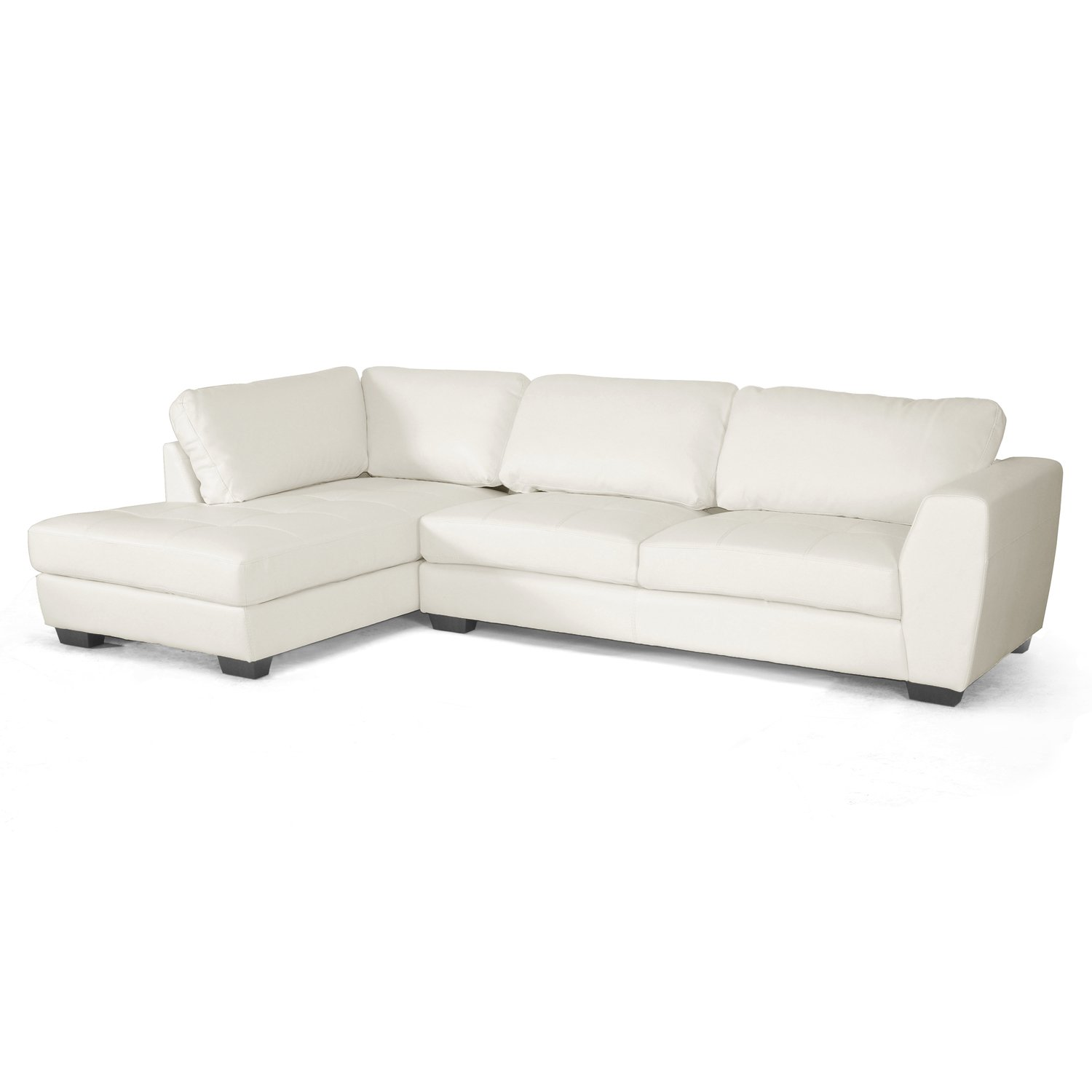 Amazon.com Baxton Studio Orland Leather Modern Sectional Sofa Set with Left Facing Chaise White Kitchen u0026 Dining  sc 1 st  Amazon.com : sectional couch with chaise - Sectionals, Sofas & Couches