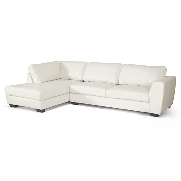 Baxton Studio Orland Leather Modern Sectional Sofa Set with Left Facing Chaise, White