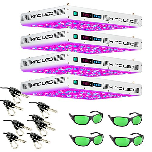 Kind K5 XL1000 LED Grow Light with Ratchet Light Hangers and Method Seven LED Glasses, 4 Pack