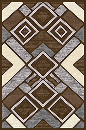 (PlanetRugs Inc Premium 3D Effect Hand Carved Modern Abstract 5x7 5x8 Colorful Luxury Rug for Bedroom, Living Room, Dining Room Contemporary 5394 Espresso Brown)