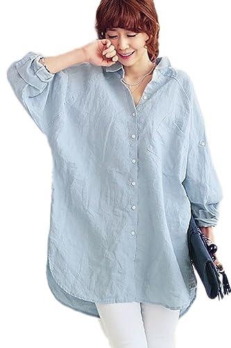La Mujer Casual De Manga Larga Botón Abajo Camisa Suelta De Algodón Y Lino Oficina TOP