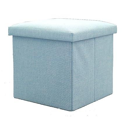 LXF Ottomans Folding Storage Ottoman Seat, Stool, Toy Storage Box Linen  Look (Color