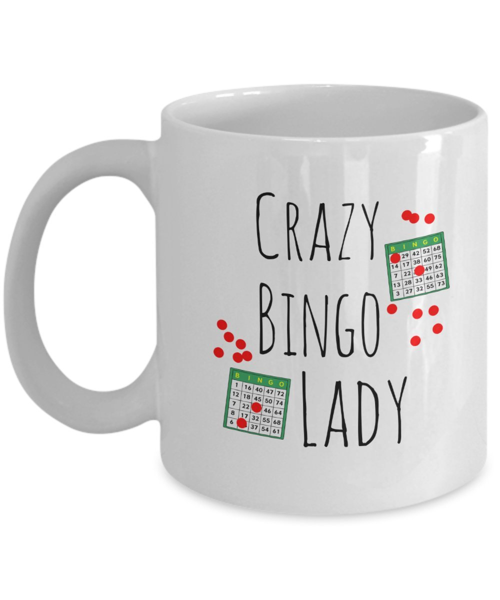 Crazy Bingo Lady Gift Coffee Mug by Raintree Mugs