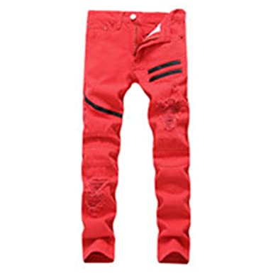 4fad6f3d993 Welcometoo Large Size Men s Red White Cotton Hip Hop Pants Men Biker Zipper  Style Autumn Plus Size Men Denim Pants at Amazon Men s Clothing store