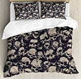 Ambesonne Skull Duvet Cover Set King Size, Grunge Scary Skulls Sketchy Graveyard Death Evil Face Horror Theme Design, Decorative 3 Piece Bedding Set with 2 Pillow Shams, Charcoal Grey Tan