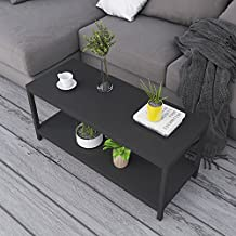 """Soges Coffee Tables 39.3"""" Coffee Table Modern Style End Table Console Table 2 Tiers,TVST-100-BK-CA"""