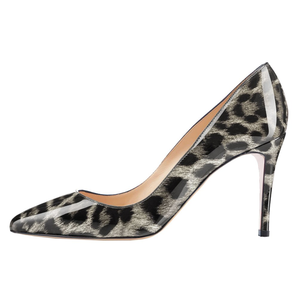 VOCOSI Women's Basic Simple High Heels Slip On Closed Pointed Toe Ladies Dress Pumps B078W5RZ25 13 B(M) US|Grey Leopard-patent