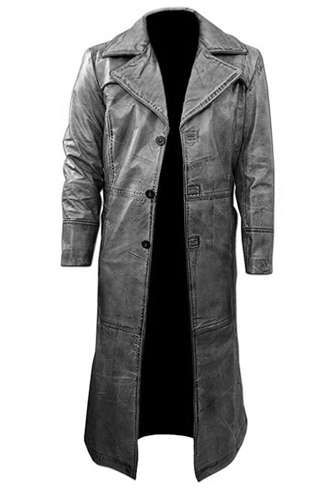 Gray Long Coat, Distressed Leather, Original Lambskin, Vintage Look, Trench Coat FYB ●→ BM-910