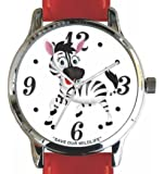 """Save Our Wildlife"" Large Polished Chrome Watch with Red Leather Strap has a ""Zebra"" image and Donation to the African Wildlife Foundation"