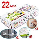 SALE! Child Safety Cabinet Locks – 6 Latches, 8 Corner Protectors, 8 Outlet Plugs   Baby Proof Cupboard, Drawers, Fridge   Tools Not Required   3M Adhesive   Adjustable Strap and Latch System, 22 Pack