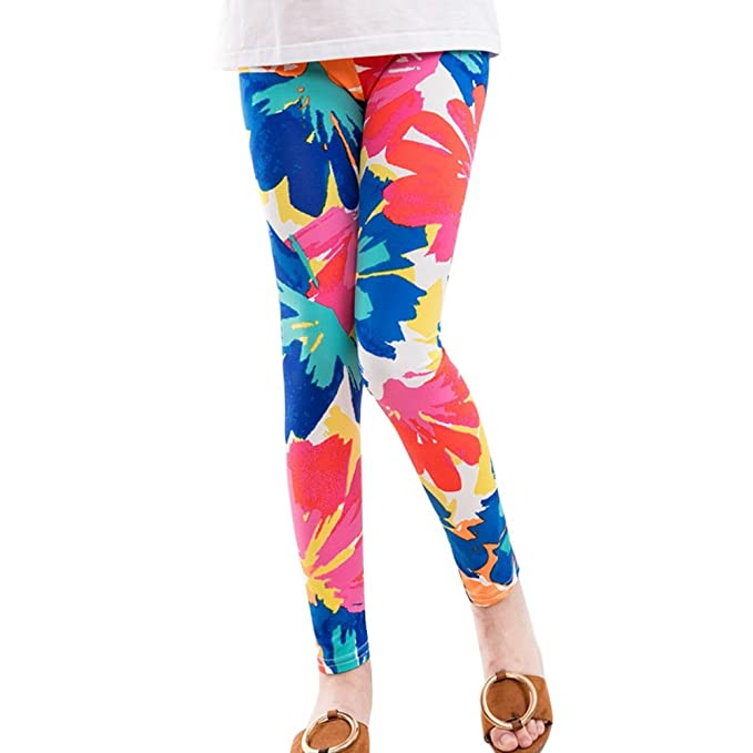 Minuya Kids Baby Girl Leggings Elastic Waist Colorful Floral Pattern Leggins Long Training Pants Tights Pants Long Pants 2-14 Years