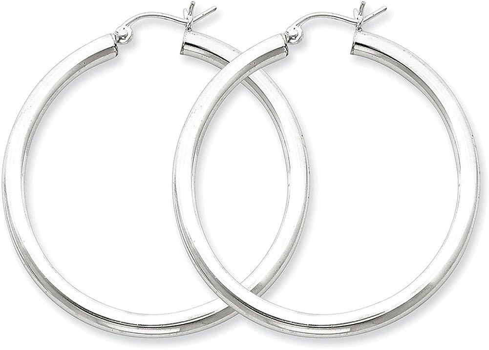 Lex /& Lu Sterling Silver w//Rhodium 3mm Round Hoop Earrings LAL22393