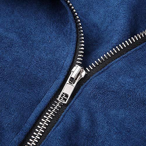 Rivetto Top Tasche Outwear Retro Cardigan Blue Cappotti Giacche Morwind Donna Lunga Casual Cerniera Con Invernale Felpe Donne Manica Sportivo Giacca Bombardiere Cappotto Up Xq1twap