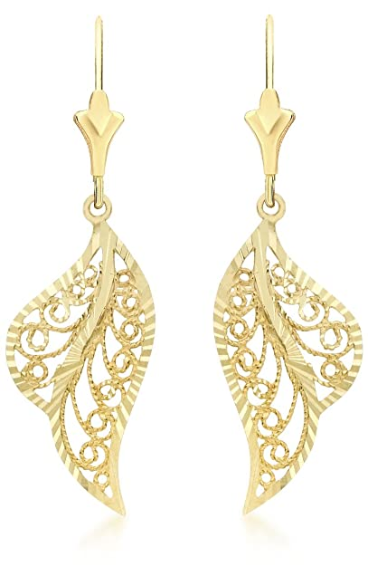 Carissima Gold 9 ct Yellow Gold Leaf Drop Earrings as700vxlxA