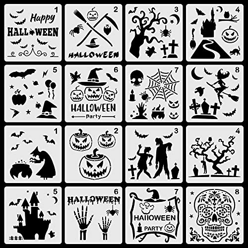 Moruska 16 Pcs Halloween Stencils Painting Drawing Templates with Pumpkin Bat Ghost Witch Grave Halloween Decoration Paint Crafts for Painting Spraying on Window Glass Wood Wall Scrapbook (Wall Lacquer)