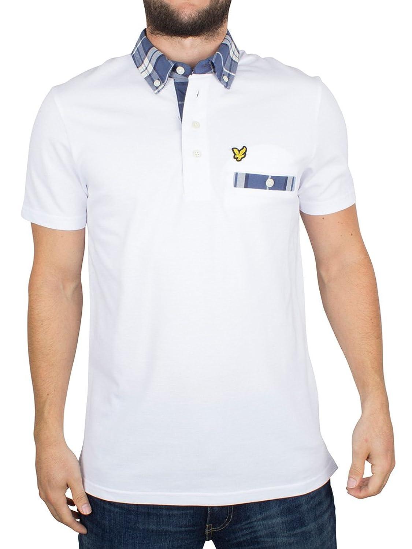 Lyle & Scott Herren Karo Trim Kragen Logo-Polo-Hemd, Weiß