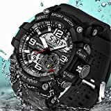 Wdnba Mens Watch Quartz Watch Military Watch Analog Digtal Wrist Watch Men's Sport LED Dive Watches