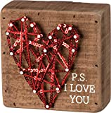 "Primitives by Kathy String Art Wood Box Sign P.S. I Love You, 4"" Square"
