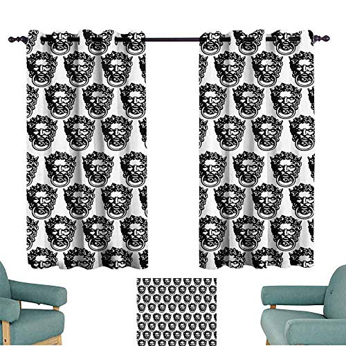 Traditional Knocker Brass Doctors - DILITECK Printed Curtain Black and White Monochrome Medieval Knocker Old Antique Figure Head Cartouche Gothic Theme Blackout Draperies for Bedroom Living Room W72 xL72 Black White