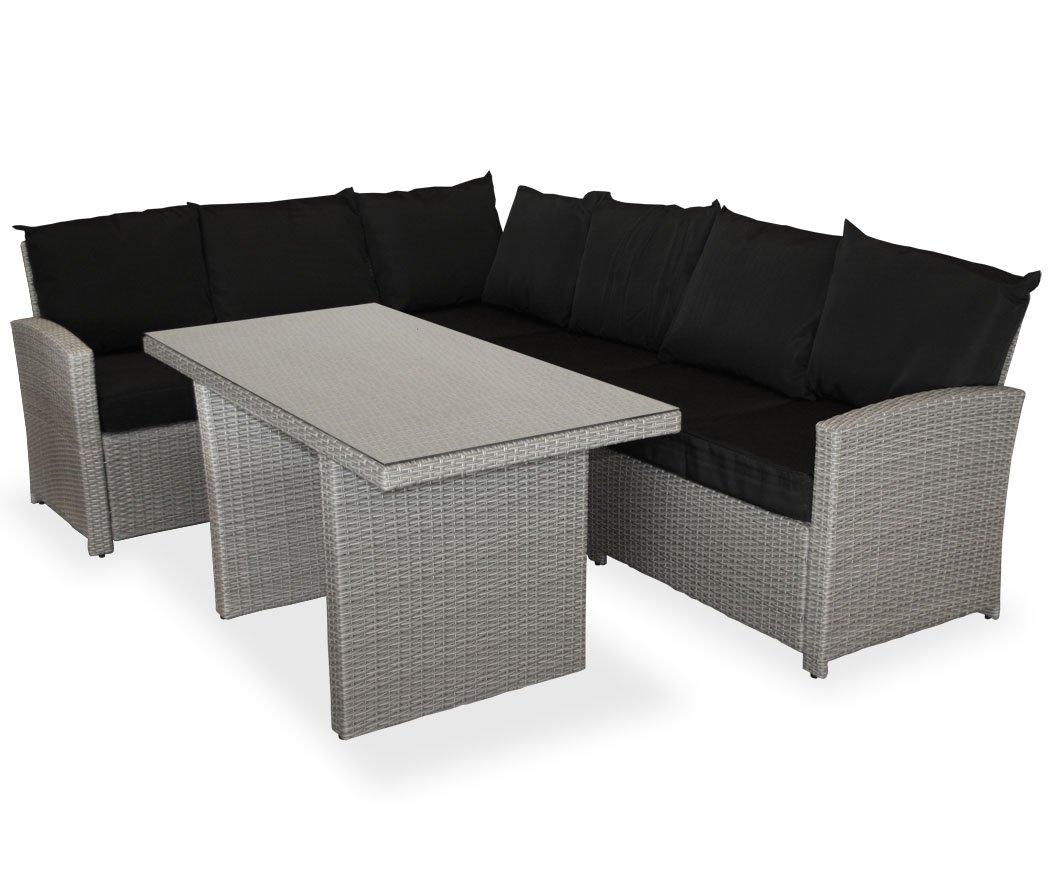 Amazon.de: KMH®, große graue Gartensitzgruppe Lounge Esstisch Sofa ...