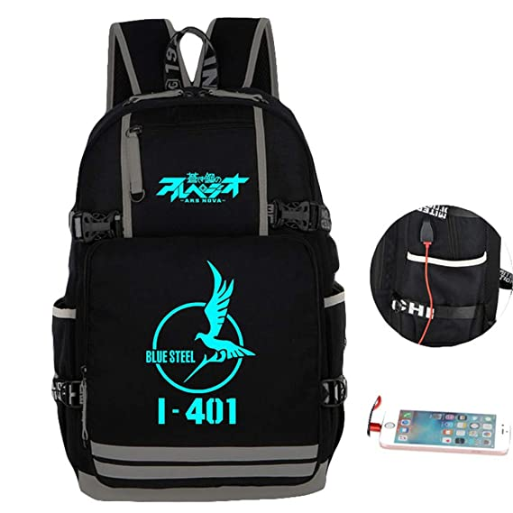 20978899cb Cosstars Luminous Arpeggio of Blue Steel Anime School Bag Students Shoulder  Backpack with USB Charging Port  Amazon.co.uk  Luggage