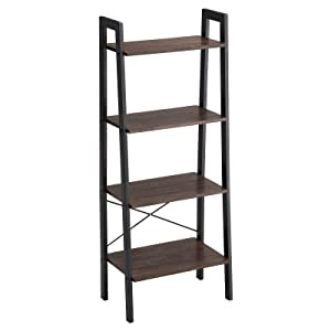 VASAGLE Industrial Bookshelf, 4-Tier Ladder Shelf, Free Standing Storage Shelves, Stable Metal Frame, in the Living Room Bedroom Kitchen or Balcony, Easy to Assemble ULLS44BF