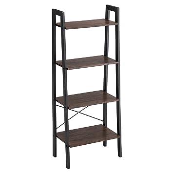 huge discount 577aa e0ec6 VASAGLE Industrial Bookshelf, 4-Tier Ladder Shelf, Free Standing Storage  Shelves, Stable Metal Frame, Living Room Kitchen or Balcony, Easy to ...