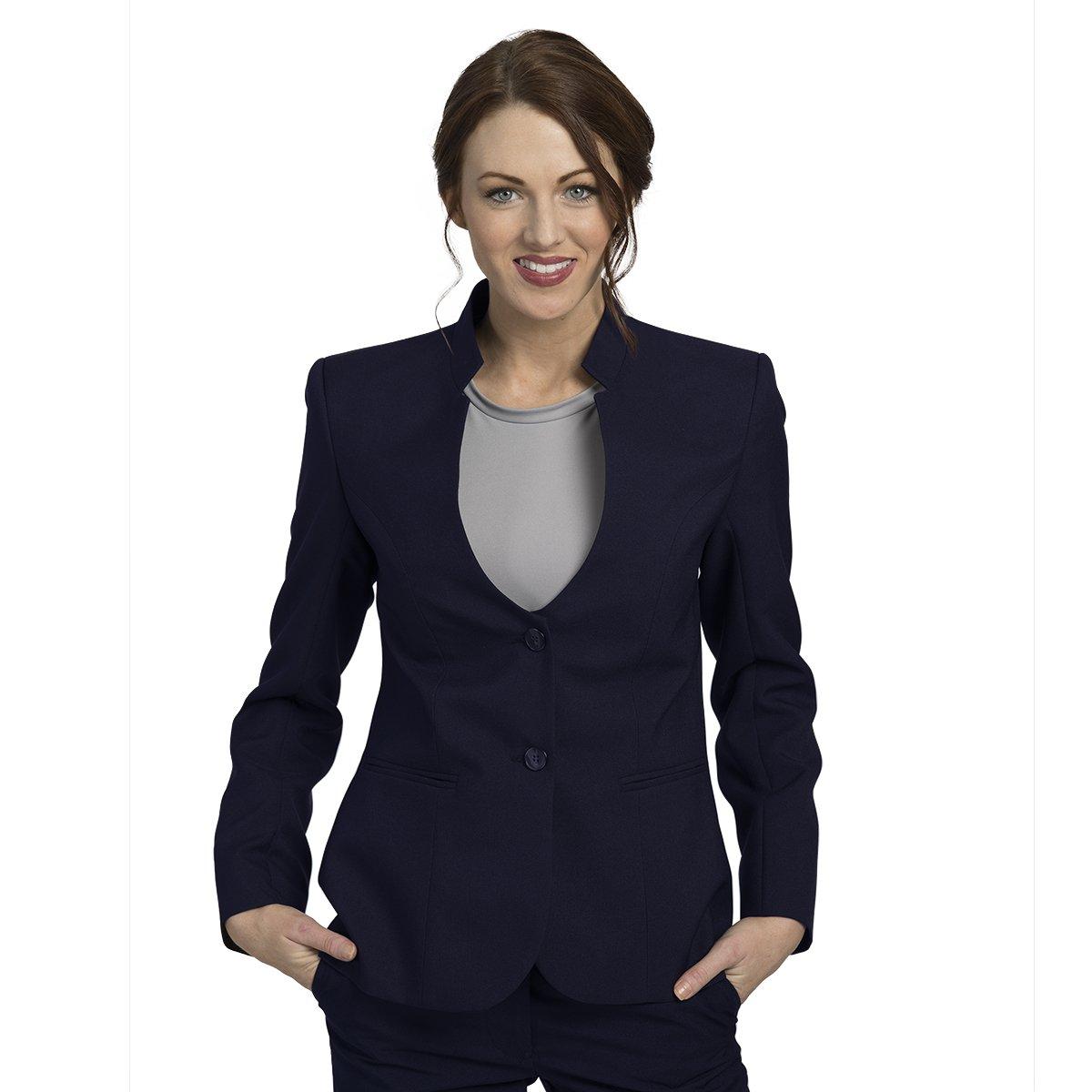 Averill's Sharper Uniforms Women's Ladies Hotel Two Button Stand-Up Collar Blazer Small (6-8) Navy