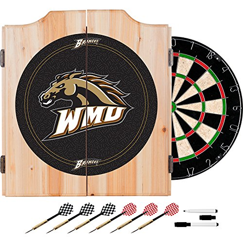 Western Michigan University Deluxe Solid Wood Cabinet Complete Dart Set - Officially Licensed! by TMG