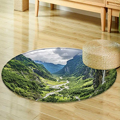 (Round Area RugGreen River Valley Canyon Wide Summer Panorama Alpine Mountain Landscape Living Dinning Room & Bedroom Rugs-Round 39