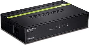 TRENDnet 5-Port Unmanaged Gigabit GREENnet Desktop Metal Switch, TEG-S50g,Ethernet Splitter, Ethernet/Network Switch, 5 x Gigabit Ports, Fanless, 10 Gbps Switching Fabric, Lifetime Protection,Black