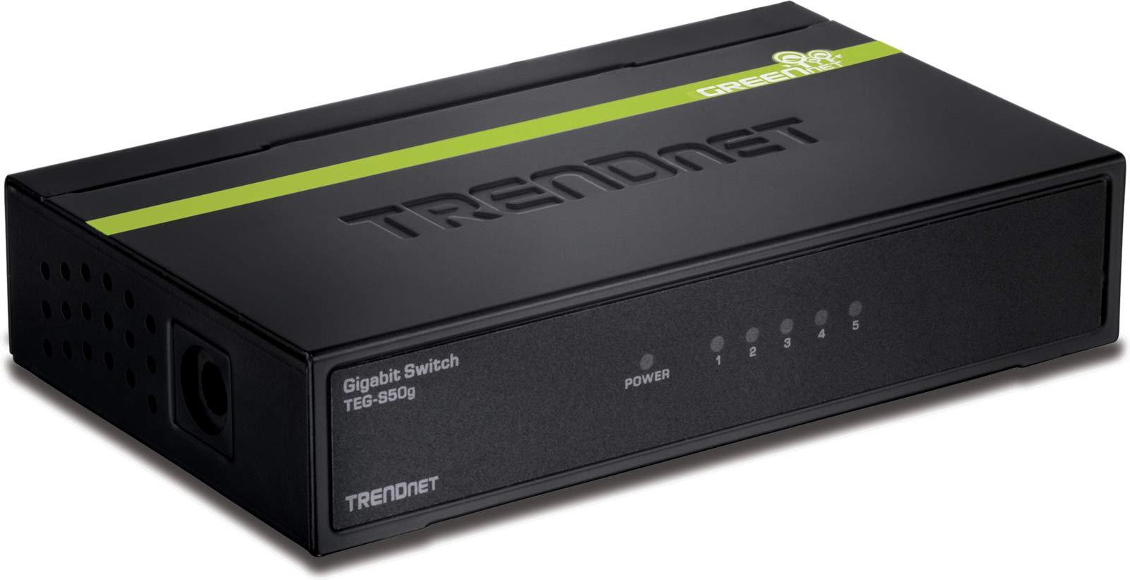TRENDnet 5-Port Unmanaged Gigabit GREENnet Desktop Metal Switch, TEG-S50g,  Ethernet Splitter, Ethernet/Network Switch, 5 x Gigabit Ports, Fanless, 10 Gbps Switching Fabric, Lifetime Protection by TRENDnet