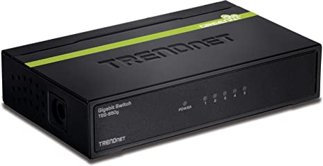 TRENDnet 5-Port Unmanaged Gigabit GREENnet Desktop Metal Switch, TEG-S50g,  Ethernet Splitter, Ethernet/Network Switch, 5 x Gigabit Ports, Fanless, 10