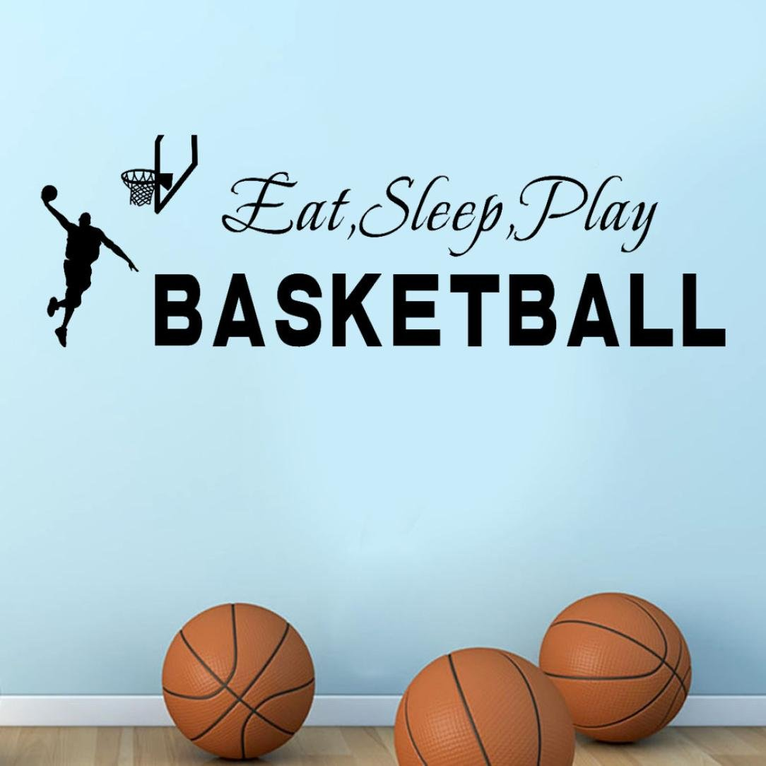 Transer Eat Sleep Play Basketball Quotes Wall Sticker Decal Home Boys Room Decoration (Black)