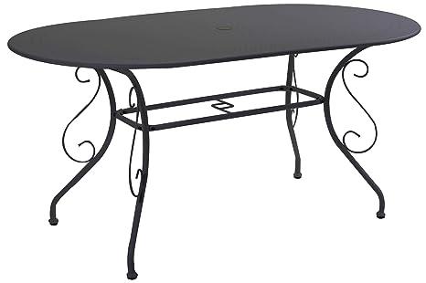 Tavoli In Metallo Da Giardino.Adami Tavolo Da Giardino Ovale In Metallo Old Antracite
