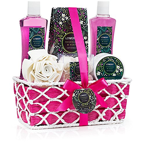 Spa Gift Basket - Rosemary Mint Scent - Best Mother's Day, Wedding, Birthday, Anniversary or Graduation Gift for Women - Bath Gift Sets Includes Shower Gel, Bubble Bath, Bath Salt, (Body Wash Gift)