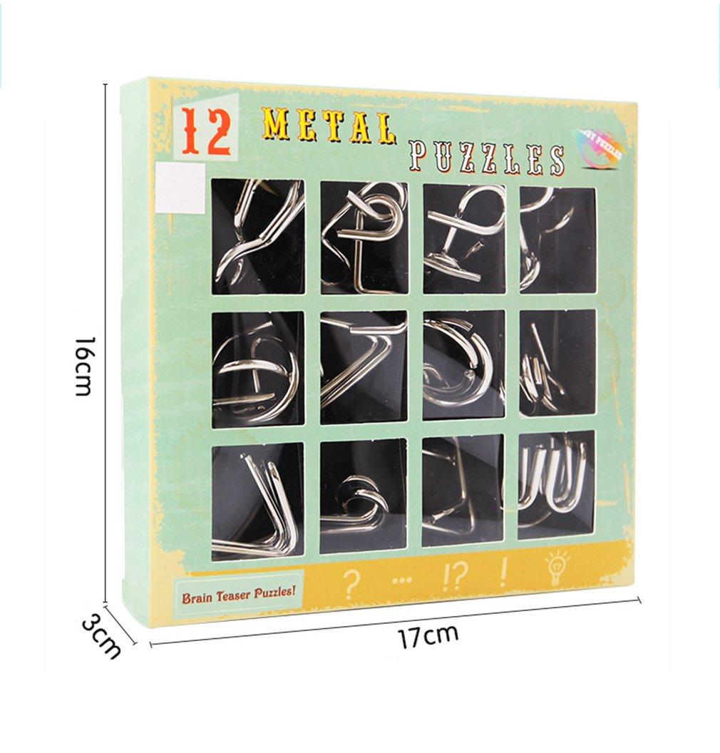 Jouets et Cadeaux Id/éaux pour des Enfants et des Adolescents Jouets dintelligence /éducative Jouet de Puzzle en M/étal Gracelaza Casse-t/ête en M/étal Set 12 Pi/èces
