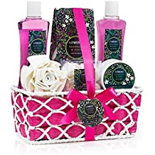 Spa Gift Basket with Rosemary Mint Scent - Best Wedding, Birthday, Anniversary or Graduation Gift for Women - Bath Gift Set Includes Shower Gel, Bubble Bath, Bath Salt, Body Lotion & More!