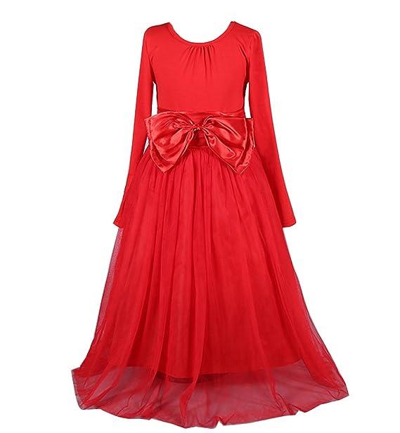 Vestido de las niñas de manga larga fiesta baratos princesa Tul vestido de Ceremonia De Noche