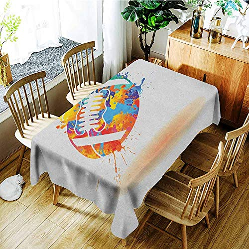 (XXANS Tablecloth for Kids/Childrens,Sports,Rugby Ball with Rainbow Brush Effects Filled Covered with Colors Sports Sign Leisure,High-end Durable Creative Home,W60X90L)