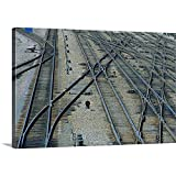 Gallery-Wrapped Canvas Entitled Railroad Switching Yard Tracks by Mark Gibson 24''x16''