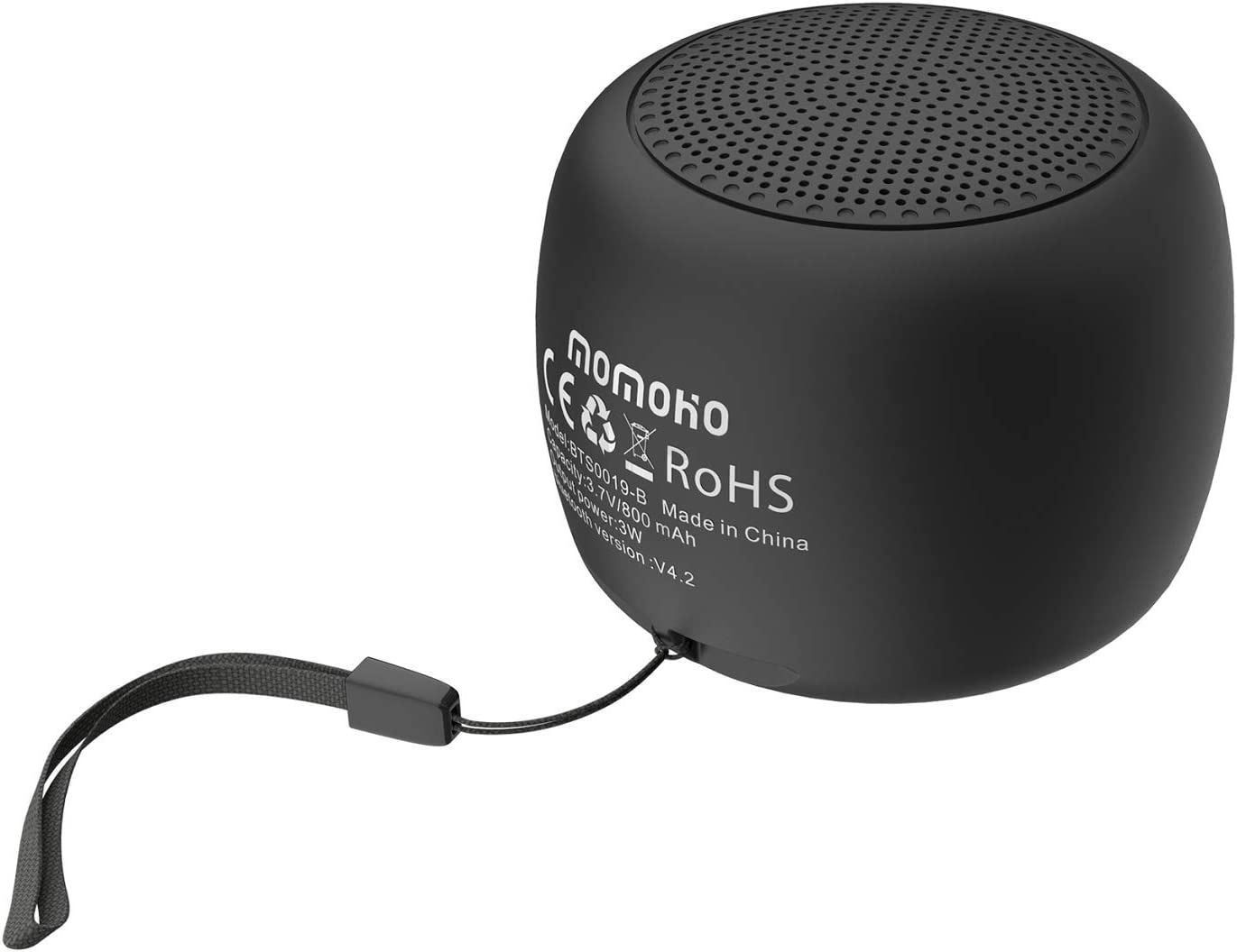 momoho Small Bluetooth Speaker - Mini Size but Great Sound Quality,up to 9  Hours Playtime,Photo Selfie Button & Answer Phone Calls,BTS9 (Black)