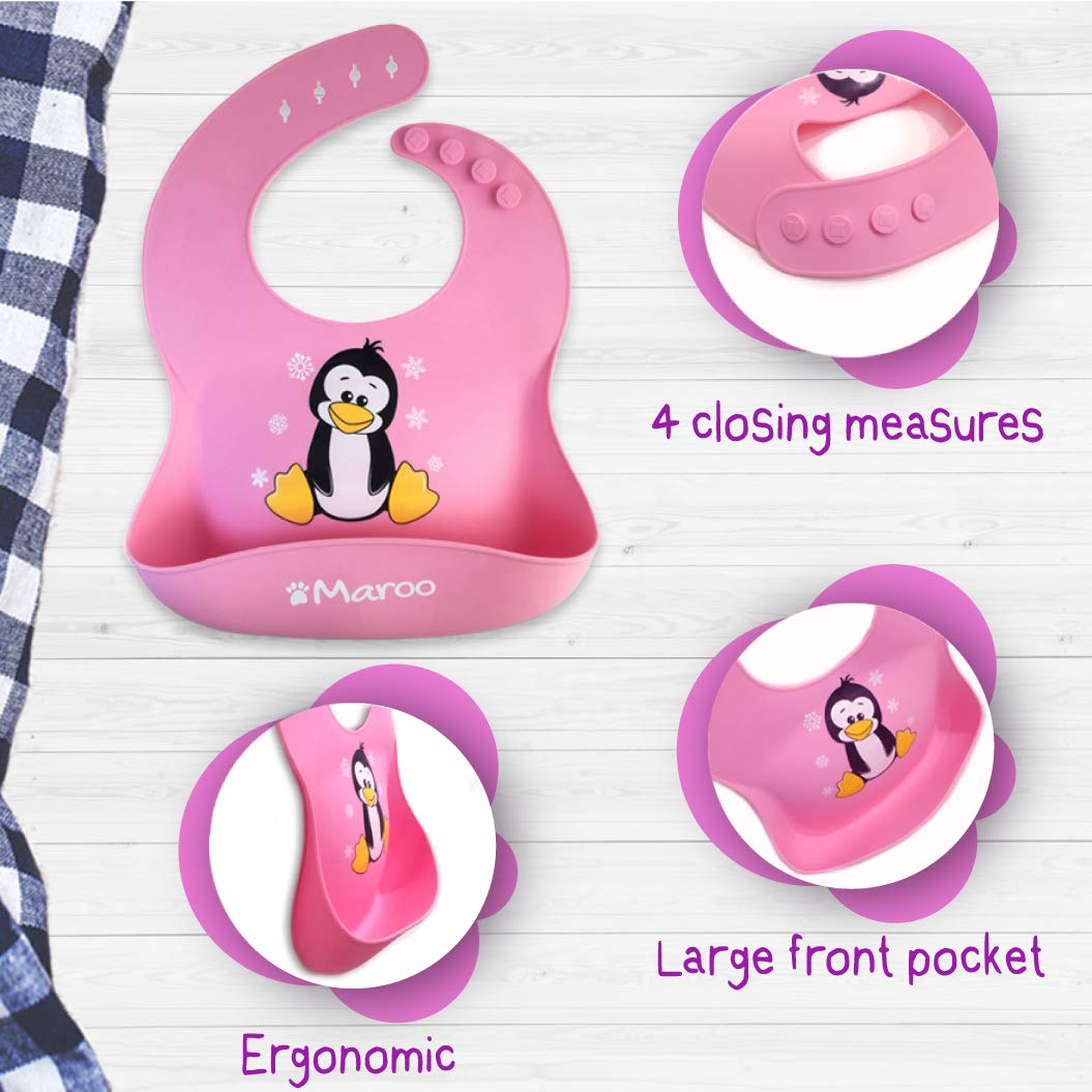 suave c/ómodo de limpiar bolsillo grande Ideal para asilo plegable en una bolsa de regalo Baberos de silicona impermeables de alta calidad para beb/és y ni/ños de 6 meses a 4 a/ños