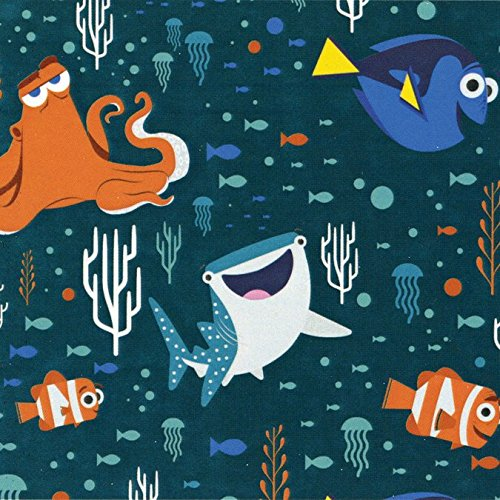 Disney Finding Dory Characters and Coral Dark Teal Fabric Sold by the Yard