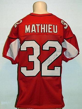 meet bedd3 51229 Tyrann Mathieu Signed Jersey - Custom Red - PSA/DNA ...