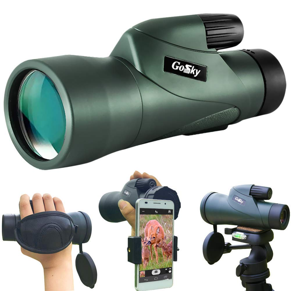 Gosky 12x55 High Definition Monocular Telescope and Quick Smartphone Holder - 2018 Newest Waterproof Monocular -BAK4 Prism for Wildlife Bird Watching Hunting Camping Travelling Wildlife Secenery by Gosky