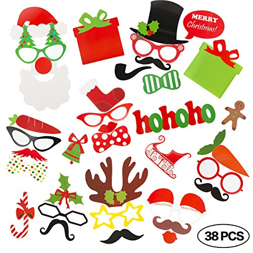 Christmas Photo Booth Props for Instant Camera 38 Pieces DIY Kit Party Supplies (How To Wear A Santa Hat)