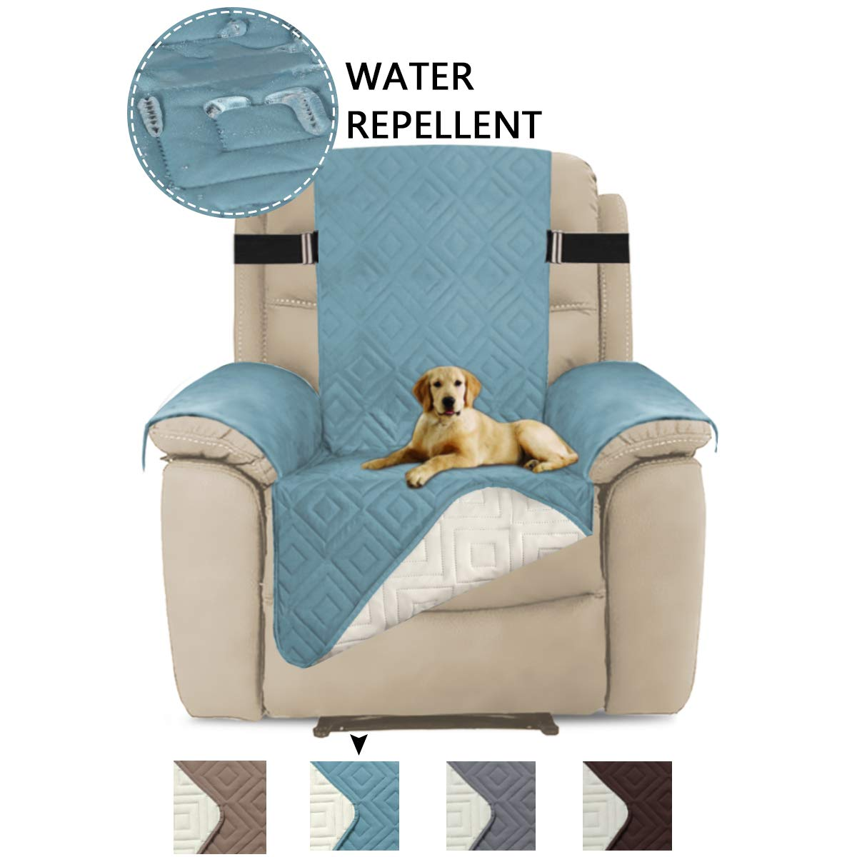 Sofa, 75 x 110 Turquoize Quilted Microfiber Pets Sofa Protector Reversible Furniture Protector Cover with Elastic Straps 75 x 110