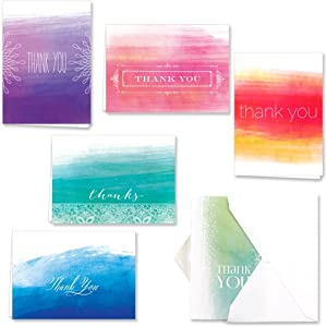 Ombre Watercolor Thank You Note Card Assortment Pack - Set of 36 cards - 6 designs blank inside - with white envelopes (53806)