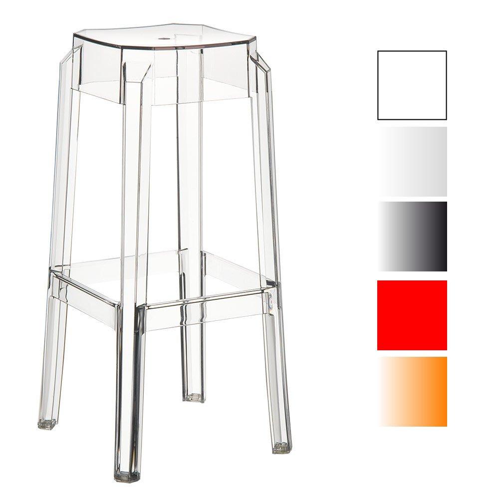 Sencillo taburete transparente de modernodiseño. Opción de diferentes colores.
